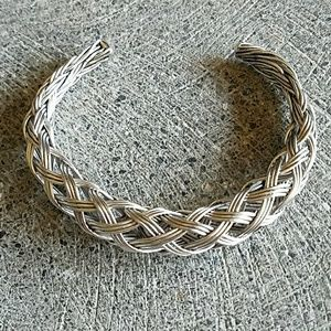 Handcrafted silver braided cuff bracelet